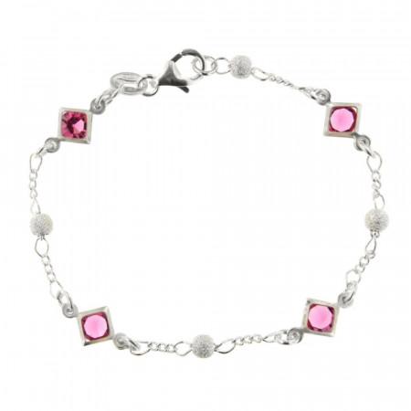 ** Bracelet Argt 4 CarréS ROSE/BOULE DIAM L : 18 cm