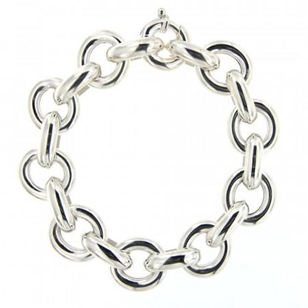 Bracelet Argent GROS FIL ROND TPM + 1/2 anneau - L20cm