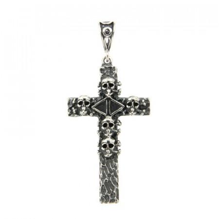 Croix Argent ANTIKA Tête de Mort