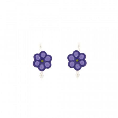 B.O. Argent ENFANT Créoles Fleur violette D 10mm - l: 10x10mm