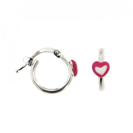 B.O. Argent ENFANT Créoles Coeur dans coeur rouge D 10mm - l: 10x10mm