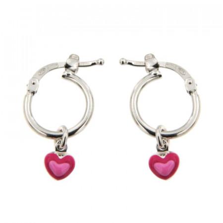 B.O. Argent ENFANT Créoles Mini Coeur dans coeur rose D 10mm - l: 10x10mm