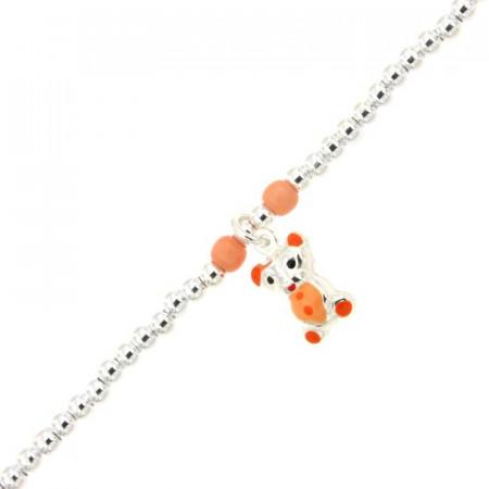 Bracelet Enfant Argent Mini BOULE Nounours orange