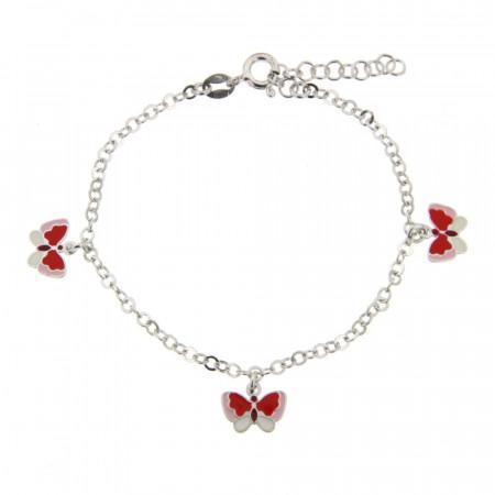 ** Bracelet Argent ENFANT 3 papillons L: 14.5 Ó 18cm - pampille: 10x7mm