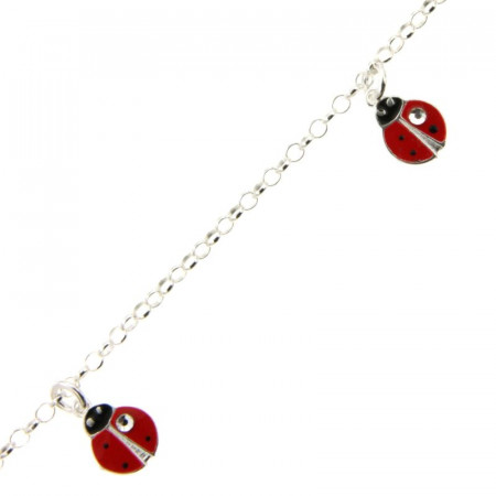 Bracelet Argent ENFANT 3 Coccinelles rouge + strass