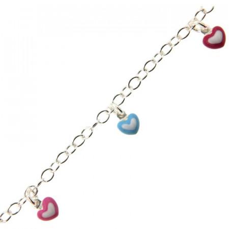 Bracelet Argent ENFANT 5 Mini Coeurs assorties 16+2cm