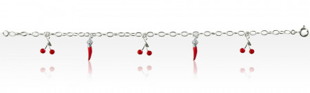 """Bracelet Argent """"ITXASSOU/ESPELETTE"""" 5 PP ROUGE"""
