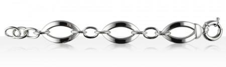 Bracelet Argent FIL PLAT 3 OVALES GM