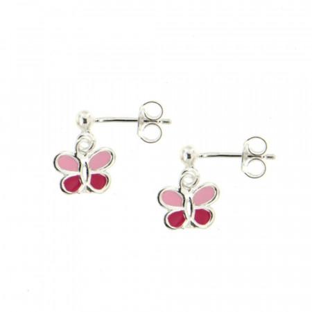 Boucles d'oreilles Papillons rose Argent