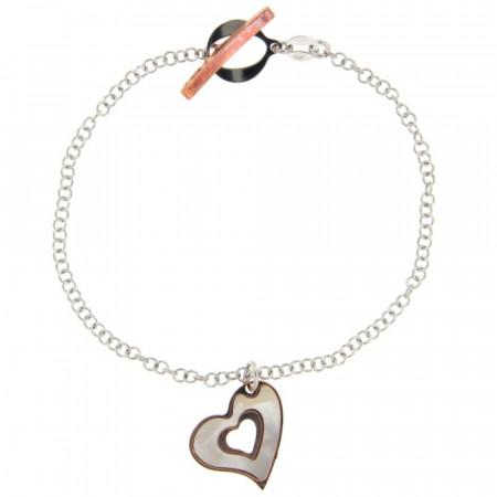Bracelet Argent NACRE Coeur - Bicolore Rose