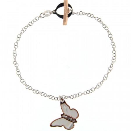 Bracelet Argent NACRE Papillon - Bicolore Ros/RH L: 19cm - motif: 16x18mm