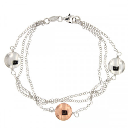Bracelet Argent RONDO 3 chaines - Bicolore Rose