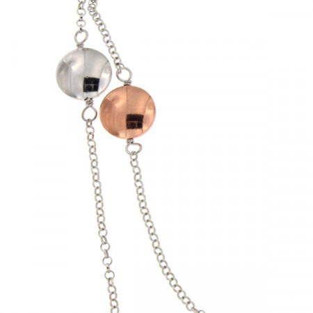 Collier Argent RONDO 3 chaines - Bicolore Rose