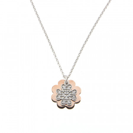 **Collier Argent PLAKA TREFLE  Bicolore Rose