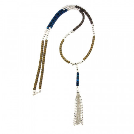 Sautoir Argent MASSAÏ Hématite Bleu Marine/Gold -L: 70+9cm - l:4mm