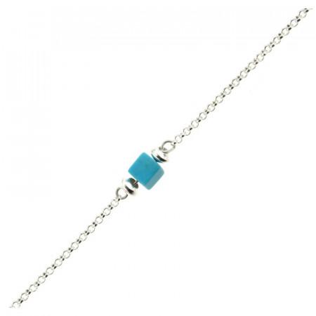 Bracelet Argent MASSAÏ/2  1 Cube Aulite Turquoise 16+2.5cm