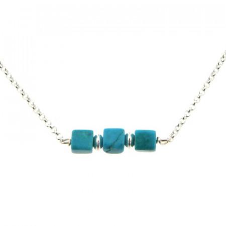 Collier Argent MASSAÏ/2  3 Cubes Aulite Turquoise 40+2.5cm