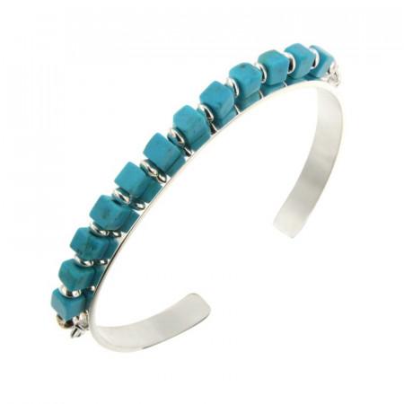 Bracelet Argent MASSAI/2 JONC PLAT6 - 12 CUBES Turquoise