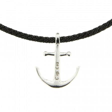 Collier Argent CAP COZ Ancre DENIM Noir- 45cm