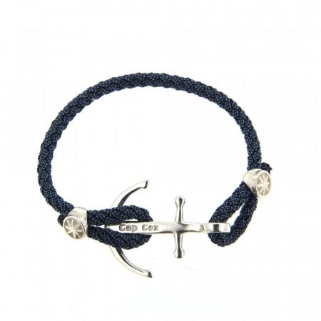 Bracelet Argent CAP COZ Ancre DENIM Bleu 18cm