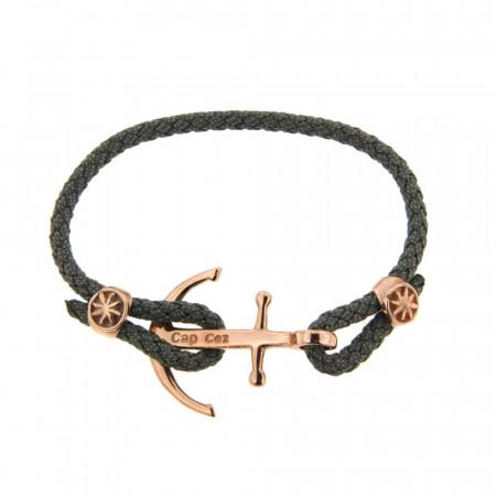 Bracelet Argent CAP COZ Ancre Rose DENIM Gris 18cm
