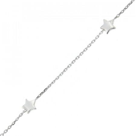 Bracelet Argent fins 3 étoiles 16+2cm