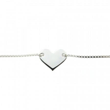 Bracelet Argent COEUR coulissant / vénitienne  16+3cm