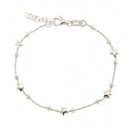 Bracelet Argent FINS ETOILE - chaine boules 6+2cm