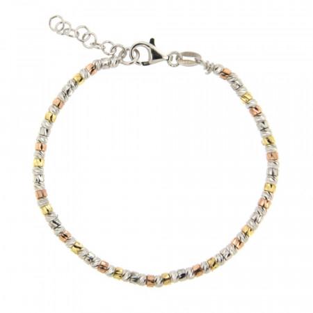 Bracelet Argent FINS ENFILAGE Boule diamantées bicolore 18+2cm