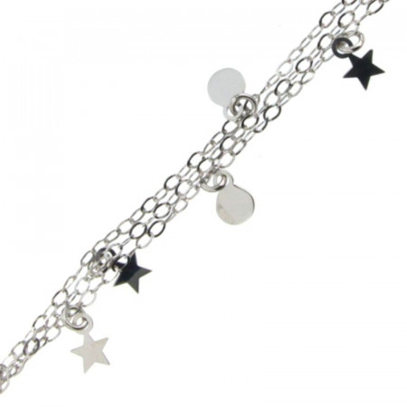 Bracelet Argent 3 rangs Etoile & mini disque 17+2cm