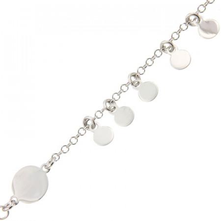 Bracelet Argent 1 rang  mini disque 16+2cm