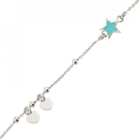Bracelet Argent Etoile turquoise/chaine ble et mini coeurs 16+2cm