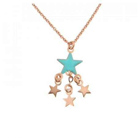 Collier Argent Etoile turquoise & 3 étoiles 40+5cm- Rose