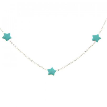 Collier Argent Mini Etoile turquoise 38+4 cm- Turquoise