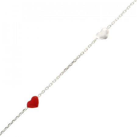 Bracelet Argent Enfant Mini Coeur 14+2cm- Rouge