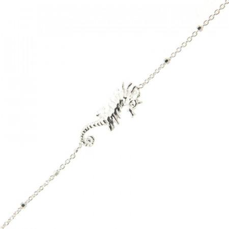Bracelet Argent LA MER Hippocampe / Mini cube 18+2,5cm