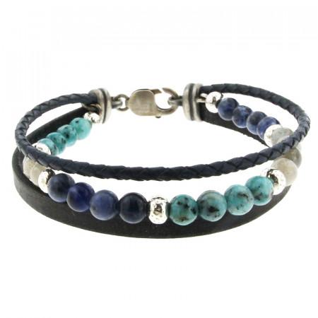 Bracelet Argent ANTIKA 2 cuirs 1 Pierres - Multi Turquoise S-Labradorite-Sodalit