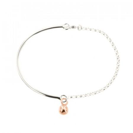 Bracelet Argent CHAKRA Semi-articulé FR20 - Boule 6 Rose