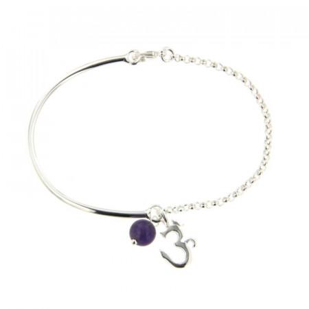 Bracelet Argent CHAKRA N°7 AUM Semi-articulé FR20  - Améthyste