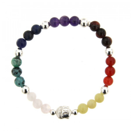 Bracelet Argent CHAKRA LES 7 - LASTIC B6 Multi Bouddha