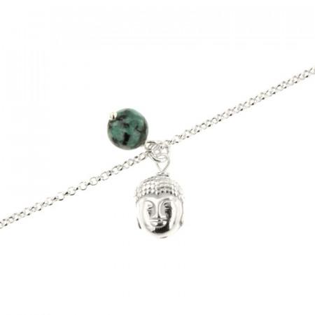 Chaine de cheville Argent CHAKRA N°5 - Bouddha - Turquoise synt
