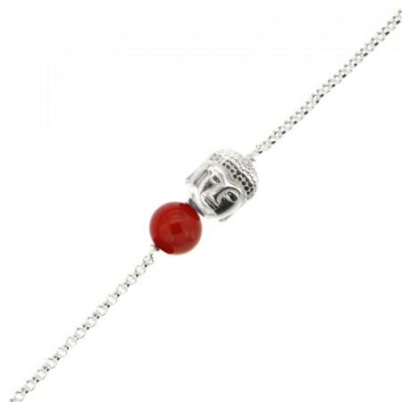 Bracelet Argent CHAKRA N°2 - Bouddha/Cornaline 18+2cm