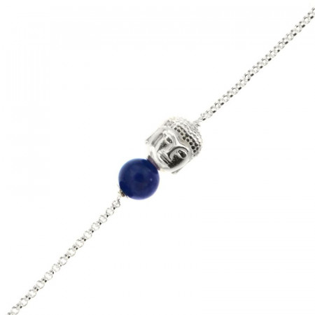 Bracelet Argent CHAKRA N°6 - Bouddha/Sodalite 18+2cm