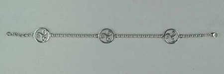 Bracelet Argent ROLO 35 3 TRISKELLS ENT/PLAT 3