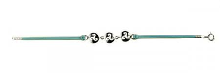 Bracelet Argent 3 MINI DISQUE TRISKELL CUIR D10