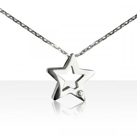 """Collier """"ECLAT"""" Argent 1 Diamant ETOILE"""