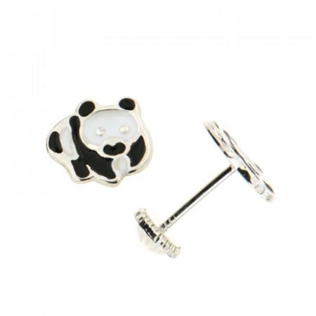 Boucles d'oreilles PANDA Blanc et Noir Argent - Vis
