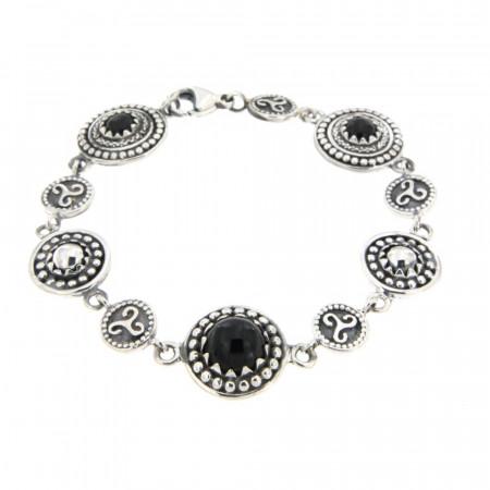 Bracelet Argent KELT Multi Perlée PM Onyx