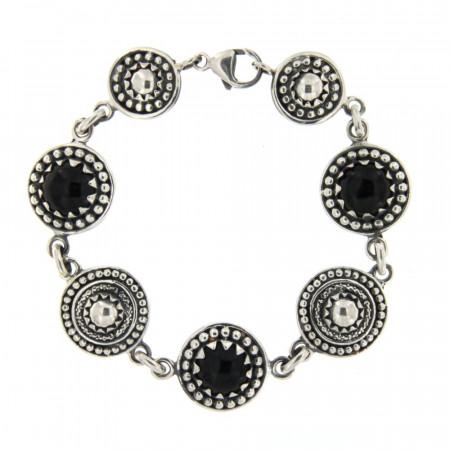 Bracelet Argent KELT Multi Perlée GM Onyx