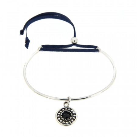 Bracelet Argent KELT JONC 2 anneau triskell CAB/06 Onyx